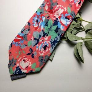 Stafford coral floral neck tie